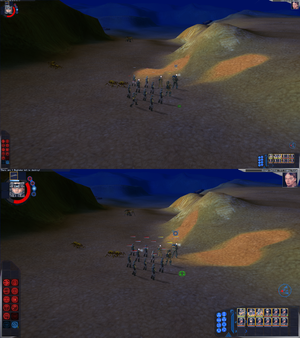 Comparison of in-game interface size at 2560x1440 set directly in game options menu(up) and 2560x1440 forced through dgVoodoo 2 with resolution in game options menu set to 1280x720(down).