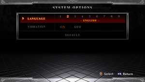 Language and rumble under system options.