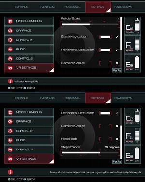 In-game VR settings