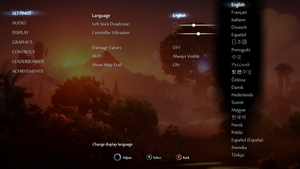 General and language settings