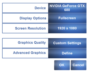 Graphics settings in launcher.