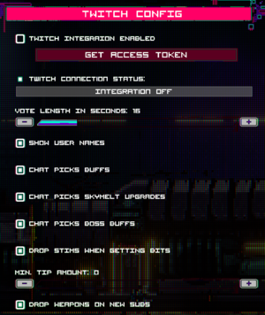 In-game Twitch settings.