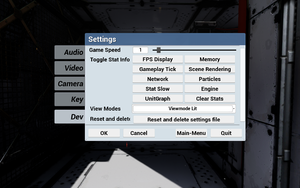 In-game developer settings.