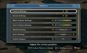 In-game general settings. Screen setting is adjusting boundaries.