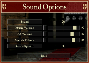 Audio settings (HD version).