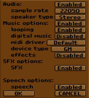 Exult audio settings.