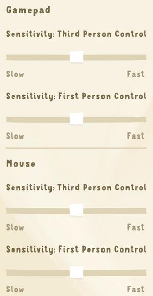 Control sensitivity settings