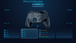 The Controller Configurator in native mode using a Steam Controller.