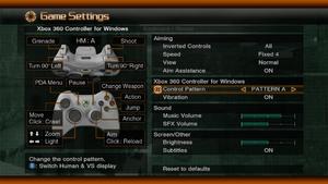 Input and audio settings.