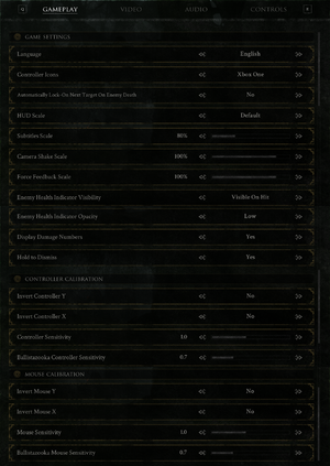 Gameplay and input settings