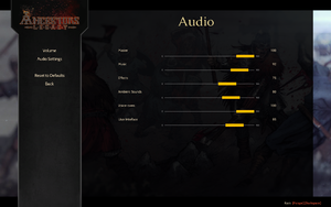 In-game audio volume settings.