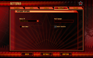 In-game network settings.