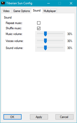 External audio settings (for the TSpatch and TS Installer version of the game).