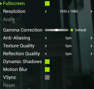 In-game General video settings.