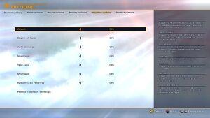 Graphics options menu.