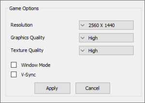 External video settings.