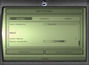 In-game mouse settings.
