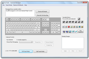 The KeyTweak user interface demonstrating a remap from Right Ctrl to Left Ctrl.