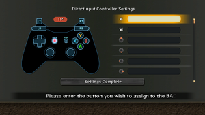 DirectInput rebinding, can be accessed from title screen by pressing button corresponding to RB (E).