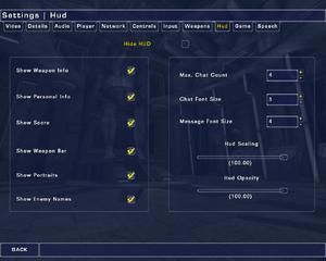 In-game HUD settings.