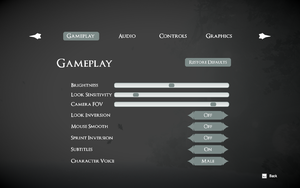 In-game gameplay settings