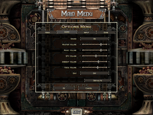 Audio settings for Dungeon Siege.