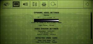 Basic video settings.