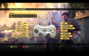 In-game gamepad button layout settings.