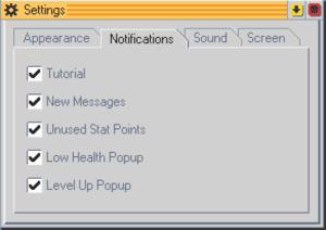 Notification settings.