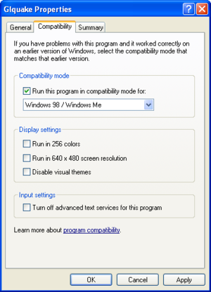 Windows XP Compatibility Settings.