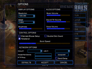 In-game options screen for Zero Hour expansion.