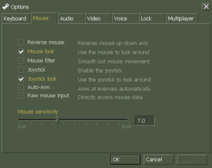 In-game mouse/joystick settings (Steam version)