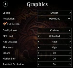 In-game graphics menu.