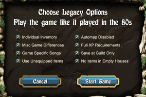 """Legacy"" settings.These options disable and tweak features to mimic the gameplay of the original releases."