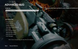 In-game advanced HUD settings.