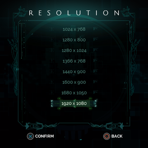 Resolution options.