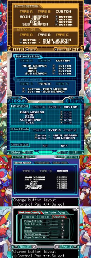 Gamepad bindings (From top to bottom: Zero 1 & 2, Zero 3, Zero 4, ZX and ZX Advent).