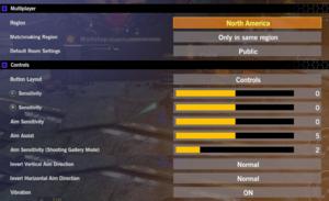 Multiplayer and gamepad settings