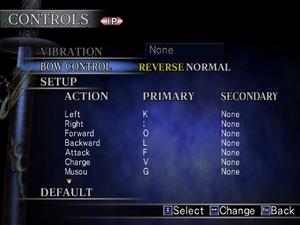 In-game input options menu