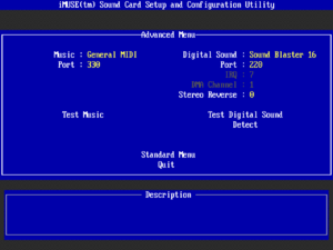 Sound card and MIDI options in setup.exe.Suggested settings for DOSBox shown.