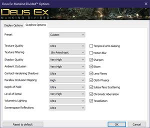 Launcher graphics Options.