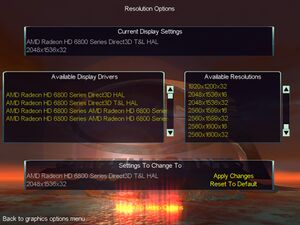 Resolution and renderer settings.