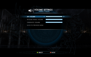 In-game volume settings.