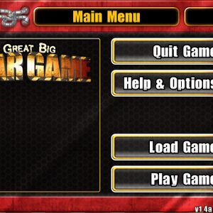 The main menu in 640x640. Note the menu is cut off because the window resolution is smaller than that of the menu's.