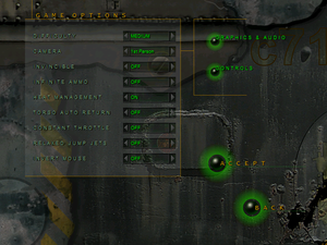 In-game general settings/options menu.