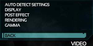 Video Settings menu.