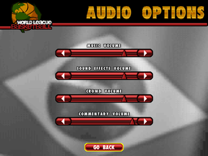 Audio options menu.