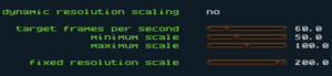Resolution scaling settings.