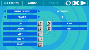 Configuration tools input tab with keyboard.