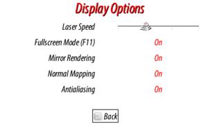 Display options.